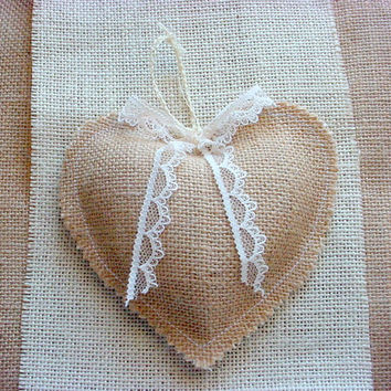 Large Burlap and Lace Heart Ornament Wedding Gift Valentine Tag Favor Bunting Garland Mobile Shabby Rustic Chic Decor 5 inches