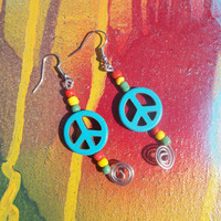 Rasta Peace Sign Spiral Out Beaded Earrings