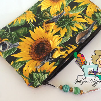 Sunflower Makeup Bag with Beaded Zipper Pull Cosmetic Bag