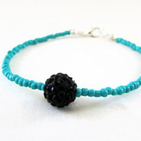 Mint and black stacking bracelet , mint green seed bead with glittery black shamballa bead beaded simple bracelet , uk seller