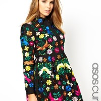 ASOS Curve | ASOS CURVE Premium Skater Dress with Embroidery at ASOS