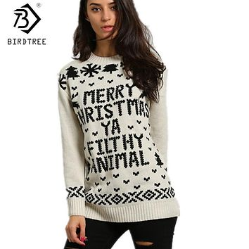 Women Snowflake Letters Knitted Ugly Christmas Sweater Preppy Style Full Sleeves Tops New Fashion Autumn Women Clothing C7O923A