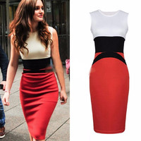 Color Black Sleeveless Bodycon Midi Dress