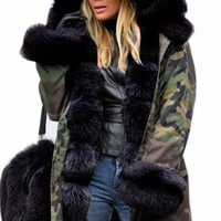 Army Green Camouflage Pockets Hooded Fur Collar Long Sleeve Fatigue Coat
