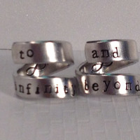 To Infinity And Beyond  Ring Set - Best Friends - Set Of Two Rings  - Wrap Rings - Handed Stamped