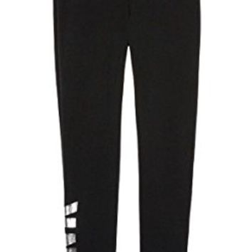 Victoria's Secret PINK Cozy Fleece Skinny Pant sweatpant, Black marl/silver foil
