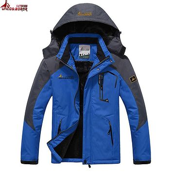 UNCO&BOROR Plus size 5XL,6XL winter jacket men cotton down parka women warm winter fleece thick waterproof windproof coat