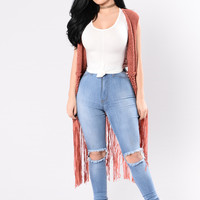 Hang Around You Vest - Red Brown