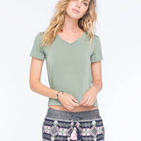 Full Tilt Womens V-Neck Tee Olive  In Sizes
