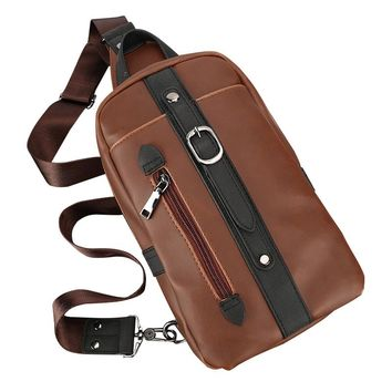 Chest Bags for Men PU Leather Messenger Bags Crossbody Zipper Purses Crazy Horse Leather Travel Male Shoulder Bags Mochila Sac