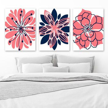 CORAL NAVY Wall Art, CANVAS or Print, Girl Nursery Decor, Navy Coral Bedroom Wall Decor, Floral Bathroom Decor, Set of 3, Flower Artwork