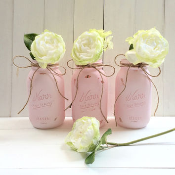 Pink Hand Painted Mason Jars.  Set of Three.  Quart Size.