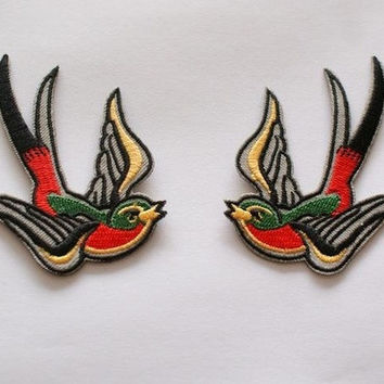 2pcs Rock Embroidered Iron on Patches Punk swallow for Jacket Applique Biker motorcycle DIY Accessory Badge 7.2*7cm