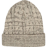 Ecru cable knit beanie hat - hats - accessories