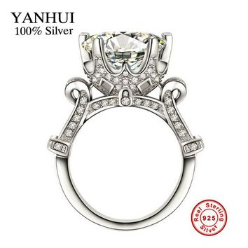 YANHUI Luxury Big 10mm 3 Carat Sona CZ Diamant Engagement Ring original 925 Sterling Silver Jewelry Wedding Rings For Women Girl