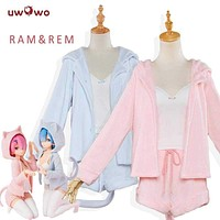 UWOWO Re:Life in a different world from zero Cosplay Rem Ram Sexy Cat Ear Ver Costume Women Anime Re zero Cosplay Pajamas Macchar Cosplay Catalogue