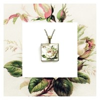 Pendant charm with glass dome and chain. Vintage rose.