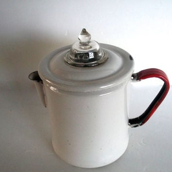 Vintage Coffee Pot Percolator Enamel White And Red Glass Top Campstove Has  Wear Functional