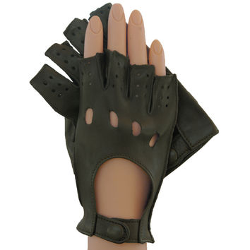 Dark Olive Half Fingers Driving Italian Leather Women's Gloves. Unlined