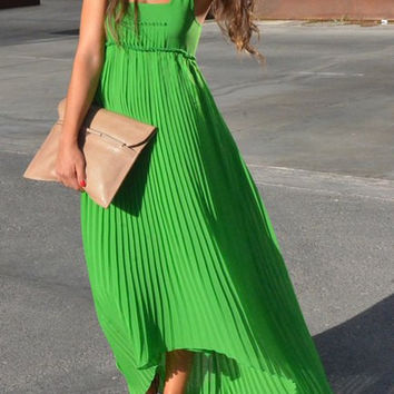 Green Sleeveless Chiffon Pleated Dress