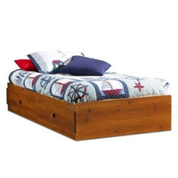 Twin Size Mates Storage Platform Bed in Sunny Pine Finish