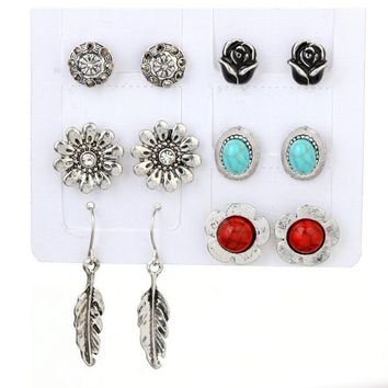 6 Pairs/set Fashion Personality Bohemia Style Flowers And Gems Earrings 171120