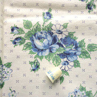 blue roses floral print vintage full feedsack fabric