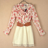 Summer Floral Long Sleeve Chiffon Girls Cute Mini Dress With Belt