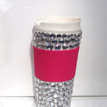 "travel mug 16oz, silver ""bling"", hot pink attached sleeve"