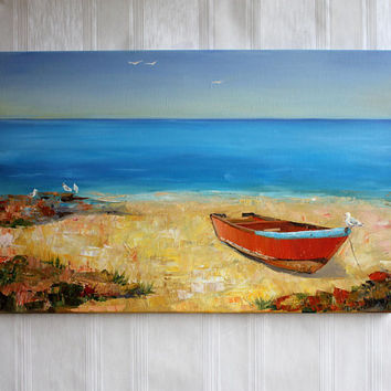 Abstract oil painting Blue orange art Living room wall décor Sand sea painting Housewarming gift picture Sea and sky Colorful oil painting