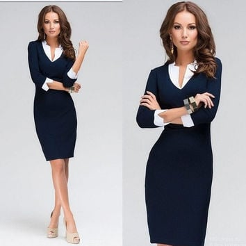 New 2015 Women Elegant Lady Women Fashion Navy blue Work Business Casual Party Bodycon Pencil Sheath Dress Plus Size = 1956849476