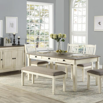Home Elegance HE-5627W-72-6PC 6 pc Willow bend antique white rosy brown finish wood dining table set with bench