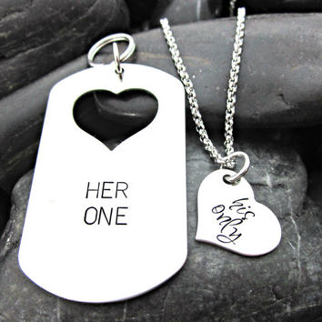 Her One His Only - His and Hers Necklace and Keychain Set - Hearts - Matching - Couples Jewelry