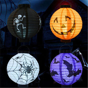 Free Shipping 1Pcs Halloween Decoration LED Paper Pumpkin Light Hanging Lantern Lamp Halloween Props Outdoor Party Supplies