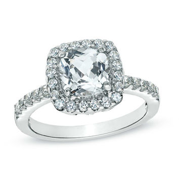 7.0mm Cushion-Cut Lab-Created White Sapphire Frame Ring in Sterling Silver - Size 7