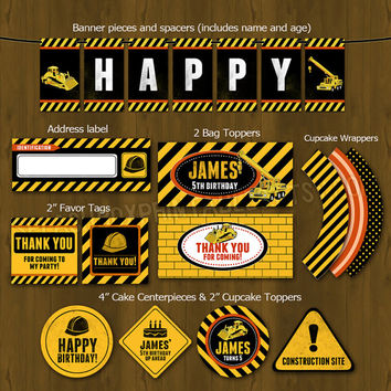 Construction Party Printable Birthday DIY Package - Heavy construction equipment themed Set for boys - construction worker Invites, toppers