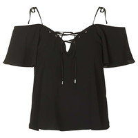 Lattice Tie-Strap Bardot Top - Tops - Clothing