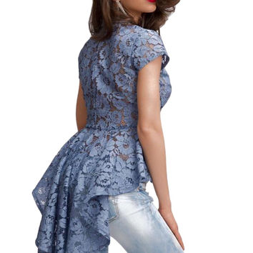 Sexy notched short sleeve blue/white mermaid tail floral lace shirt fashion long line buttons blouse tops elegant women's tops