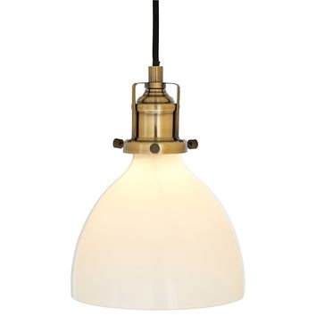 "Rivet Lux Brass Pendant, 9""H, Glass Shade"