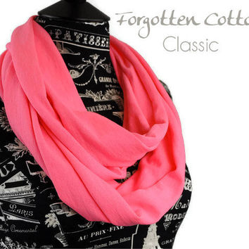 Infinity Scarf Jersey Neon Hot Pink Lightweight Cotton