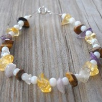 Tiger Eye Quartz Amethyst Agate Steel Cord Bracelet Tiger Eye Quartz Amethyst Stones Agate Beads 3mm Special Steel Cord 925 Sterling Silver Spring Ring,seed Beads 17cm Long Handmade,brand New