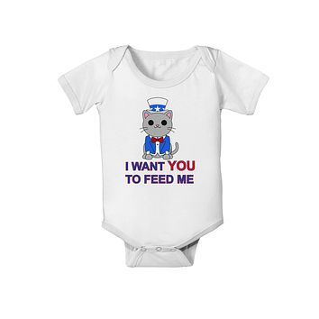 Patriotic Cat I Want You Baby Romper Bodysuit by TooLoud