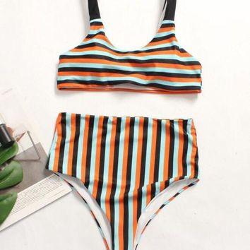 Summer Fashion Women Sexy Black/Orange/Blue Stripe Print High Waist Two Piece Bikini Swimsuit Swimwear Bathing I12064-1