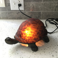 Turtle Accent Lamp, Art Glass Turtle, Amber Color Shell, Decorative Lighting, Kitsch, Tortoise Light, Turtle Nightlight, Designer Lighting