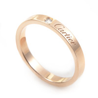 Cartier Diamond Rose Gold Signature Band Ring