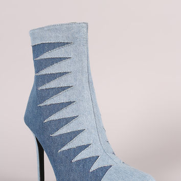 Two Tone Denim Patchwork Pointy Toe Booties