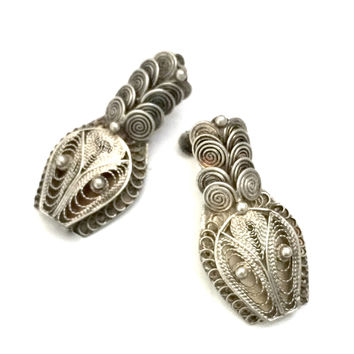 Sterling Silver Chinese Export Snake Earrings, Art Deco Era, Asian Design Influence, Intricate Filigree Metal Work, Vintage, Hallmarked