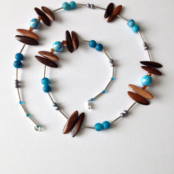 Long Blue and Wood Necklace