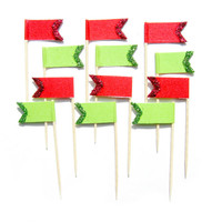 12 Green & Red Glitter Flag Cupcake Toppers - Washi Tape Cupcake Toppers, Christmas Cupcake Toppers, Christmas Cake Toppers