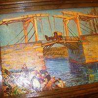 11-1113 Van Gogh Cardstock In Old Worn Oak Frame / The Drawbridge at Arles with a Group of Washerwomen / Van Gogh Wall Art Reproduction